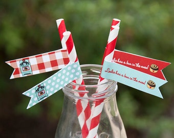 Bun In the Oven Baby Shower Straw Flags