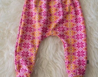 SALE 6-9 month yellow and pink winter harem pants by little lapsi. ready to ship. Art gallery knit