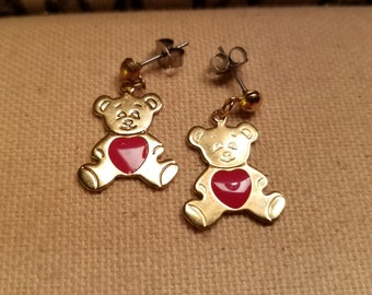 Teddy Bear Earrings, Teddy Bear Dangler, Gold Teddy Bear, Vintage Teddy Bear, Small Teddy Bear, Vintage Teddy Bear Earrings,