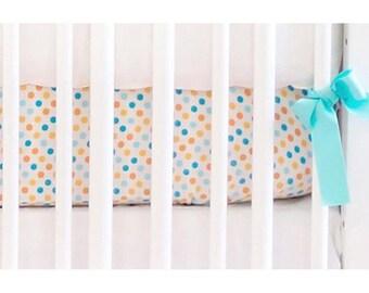 Aqua & Orange Polka Dot Carnival | Crib Sheet