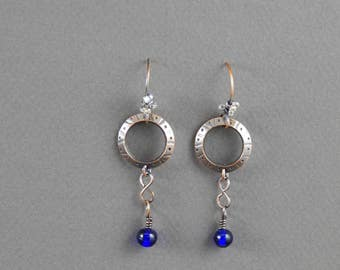 Hammered Copper and Cobalt Dangle Earrings