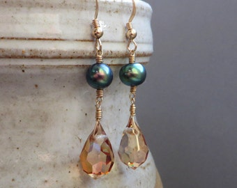 Peacock Pearl Topaz Crystal Gold Dangle Earrings