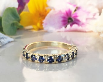 20% off-SALE!! Blue Sapphire Ring - September Ring - Half Eternity Ring - Stack Ring - Gold Ring - Dainty Ring - Prong Ring - Gemstone Band