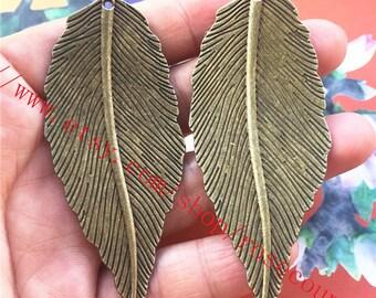 Large--wholesale 10pcs antiqued bronze 68x29mm Filigree leaves pendant charms findings