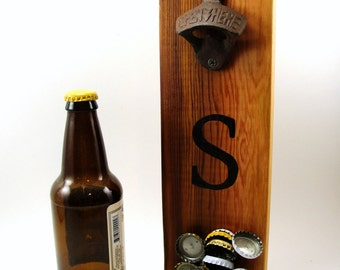 wall mount bottle opener cast iron cedar magnet cap catcher initial