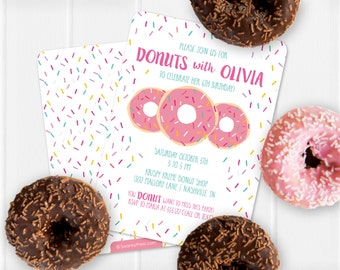 Donut Invitation, Donut Birthday Invitation, Donut Party, Printable or Printed - sprinkles on the back side