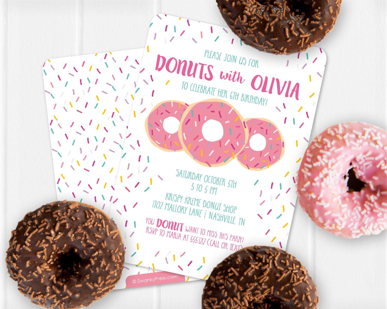 Donut Invitation Donut Birthday Invitation Donut Party