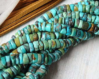 7-8mm Natural turquoise heishi beads, strand,irregular turquoise heishi beads in natural GREEN BLUE tones, natural non-dyed turquoise beads