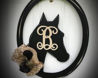 Horse head door hanger,Kentucky Derby door hanger,Kentucky derby wreath,Rustic door hanger,Horse shoe door,cow boy door hanger horse wreath