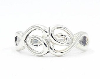 925 Sterling Silver Twisted Double Heart Ring, Size 8 (1381)