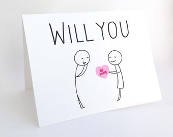 Will You Be Mine // Cute Valentines Day Card // Romantic Card for Him // Funny Fiance Valentine // Love Card for Her // Valentine Engagement