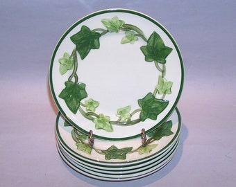 "8485: Vintage Franciscan Ivy Interpace SET 6 Bread Dessert Plates 6 3/8"" Earthenware Vintage Dinnerware at Vintageway Furniture"
