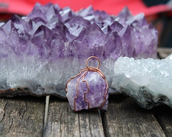 Amethyst Wire Wrapped Pendant Necklace Copper Wire