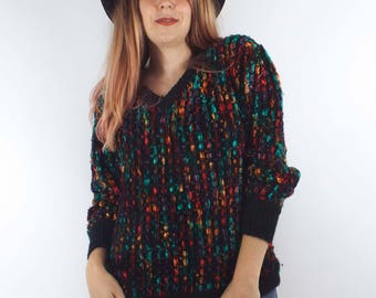 Vintage Cozy Oversized Colorful V-Neck Sweater