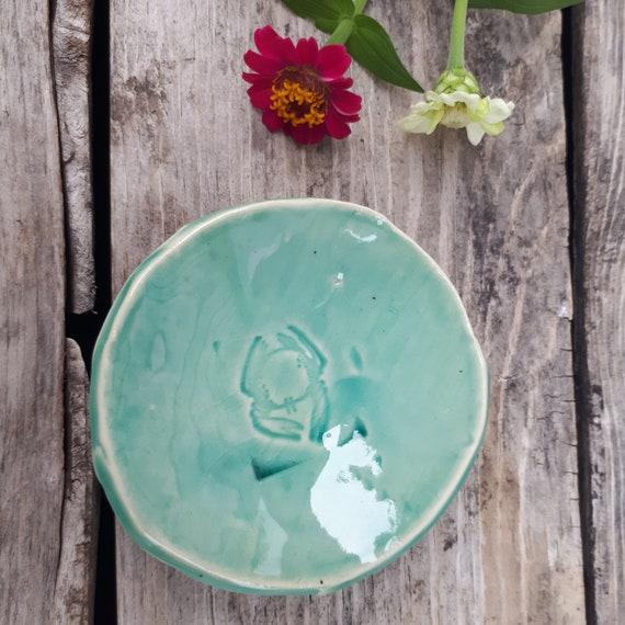 Pottery Handmade  ring dish, spice bowl, catch all  Spoon Rest in Turquoise Azure for beach lovers with crab stamp
