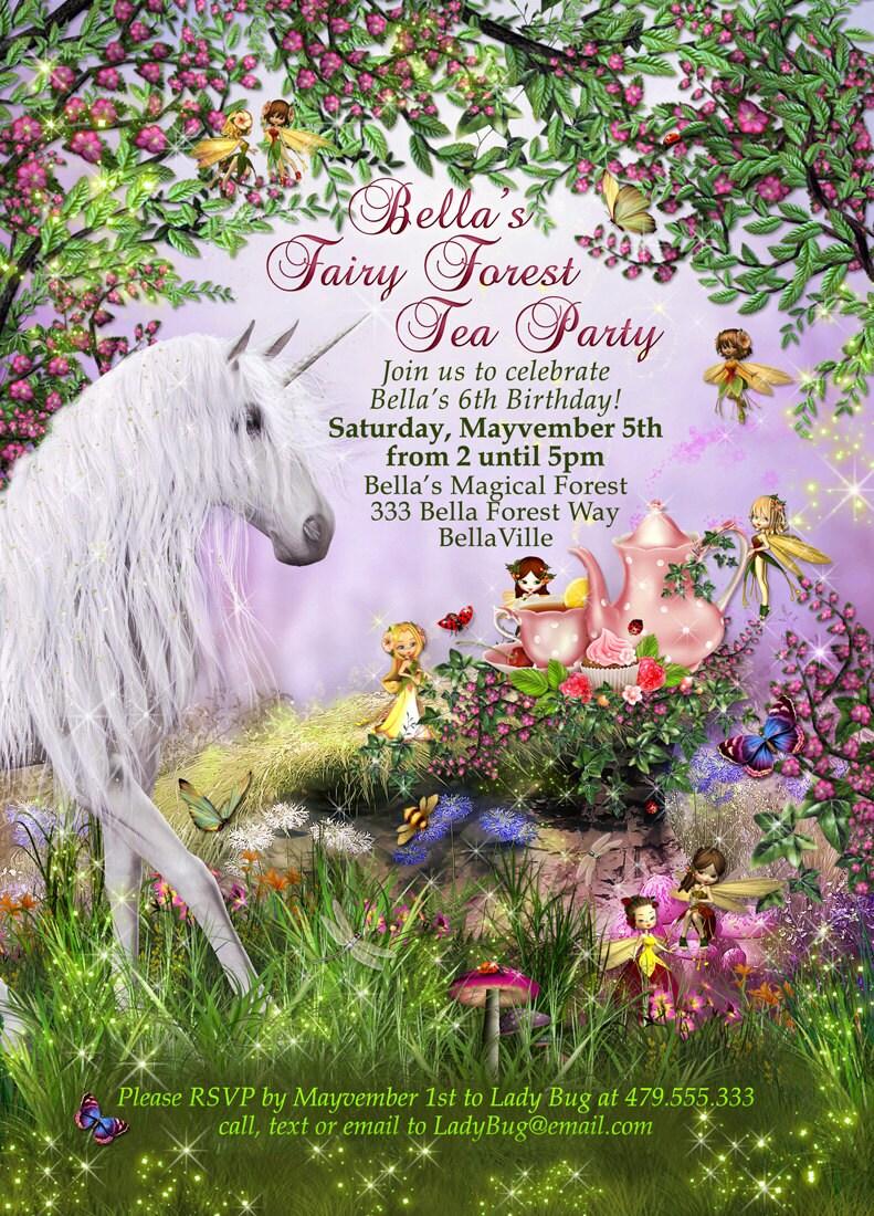 Unicorn Fairy Tea Party Unicorn Party Invitation Birthday