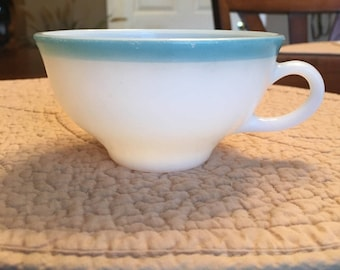 Vintage Pyrex Milk Glass Cup with Turquoise / Blue / Aqua / Rim Band / Retro