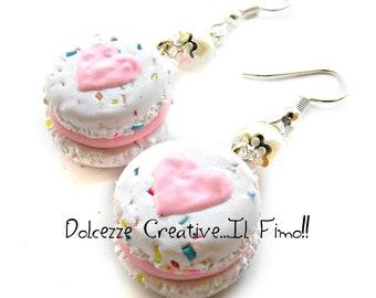 Macarons heart - macaroon with codette Rainbow and Strawberry - Jam - handmade earrings