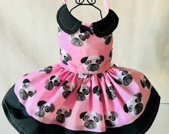 Precious pup pink pug face harness dress