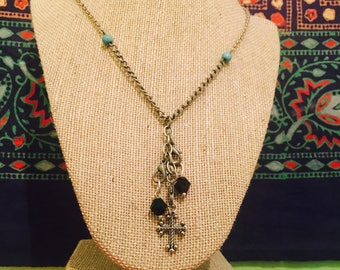 Black, Silver and Turquoise Bohemian Cross Necklace