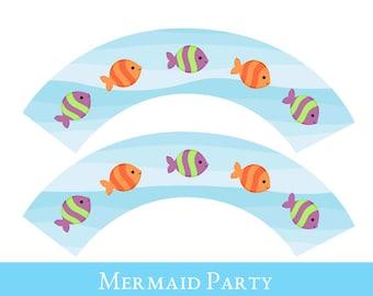 Mermaid Cupcake wrappers, cupcake wrapper printable, cupcake label printable, Princess Party Printable, Mermaid Party Decorations