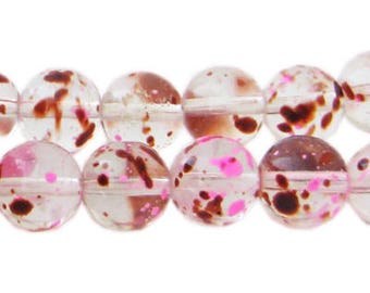 12mm Raspberry Swirl Season Glass Beads, approx. 18 beads