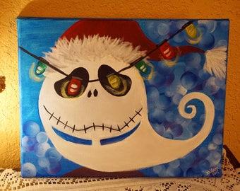 Jack Skellington Santa (The nightmare before Christmas) acrylic painting- 11x14 canvas