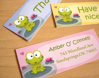 Adresse de personnalisée autocollants-retour des étiquettes - Phine la grenouille-jeu de 32