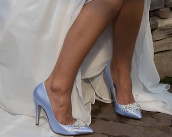 Blue Wedding Shoes Blue Bridal Shoes 100 Colors To Pick From Pearl and Crystal Design Dyeable Bridal Shoes