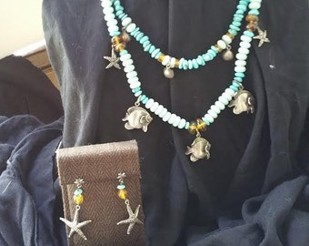 Double Strand Turquoise and Puka Necklace with Matching Earrings