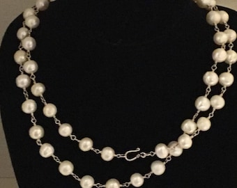 925 silver and 10 mm pearl necklace 36 inches long