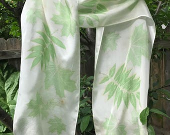 Leafy Greens Eco Print Silk Scarf / Botanical Print / Natural Dyes / Green Leaf Prints