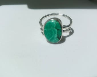 Turquiose-colored Malachite, lapidary by MagicbyMargo, S/S double wire shank.