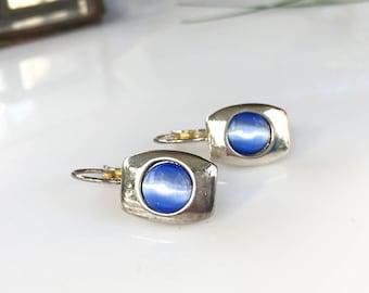 Cornflower Blue Earrings, Silver and Blue Earrings, Blue and Silver Earrings, Vintage Blue Earrings, Blue Glass Earrings, Pierced Earrings