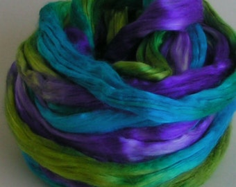Silk Sliver Top Roving Fiber Mulberry cultivated BALI Luxurious Supreme Quality Hand Painted for Handspinning 2 ounces