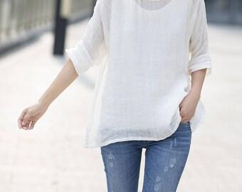 781---Women's Line Gauze Blouse, White Linen Tee / Top (Excluding the inner Tank), Linen Tee Shirt, Plus Size, Summer Top.