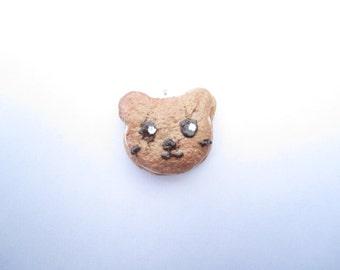 Kawaii Bear Biscuit Charm, Realistic, Polymer Clay Food, Cute Charm, Jewelry, Teddy Bear Charm, Handmade Cookie, Ice Cream Sandwich Charm