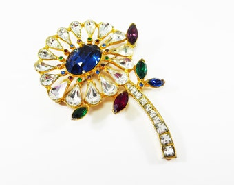 Rhinestone Flower Brooch Clear Teardrops, Blue, Red, Purple, Green Marquis Rhinestones, Multi Colored Chatons Deco Style Vintage 1970s 1980s