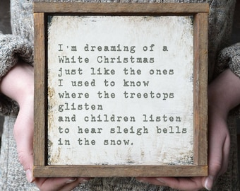 Framed White Christmas Print, White Christmas Lyrics Sign, Farmhouse Christmas Decor, Holiday Signs, Hand Painted Christmas Signs
