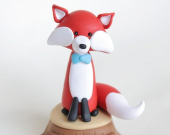 Red Mr Fox woodland clay cake topper and keepsake - personalized baby shower, birthday ornament, baby fox on the tree stump