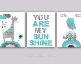 Nursery art print, kids room wall art, Nursery decor, Baby Nursery, set of 3 print - Sunshine Teal