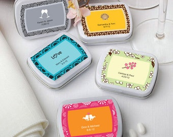 50 Personalized Rectangular White Mint Tins - Set of 50