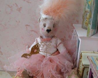 "RESERVED On Layaway for J.  OOAK Artist Bear 8"" Art Doll- HARRIET - Marie Antoinette Inspired Pink German Mohair Collectible Teddy Bear"