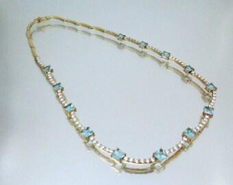 Sterling Silver Vermeil Aqua & CZ Necklace *