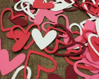 Red Pink and White Heart Table Confetti / Valentines Day Party Decor Decoration Table Scatter Scrapbook Embellishments  / 100 Pieces