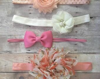 Baby Girl Headband Set, Shabby Chic Headbands, Newborn Headbands, Floral Headand, Ivory headband, Baby Gift, Pink headband, Baby Hair bows