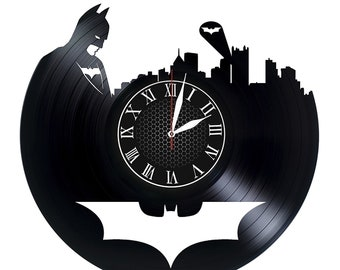 "BATMAN VINyL RECoRD CLOCK made from 12"" Vinyl Record best gift for kids bedroom gift for potter fans"