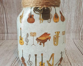 Musical Instruments Upcycled Jar, Decoupage, Fairy lights, lamp, recycled, rustic, chic, nightlight, music