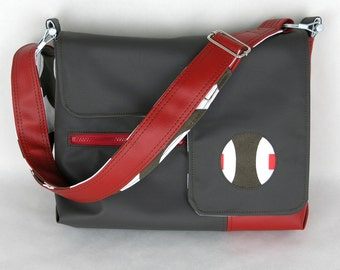 Vegan Laptop Bag Chocolate and Cherry Red, Vinyl Laptop Bag, Computer Bag