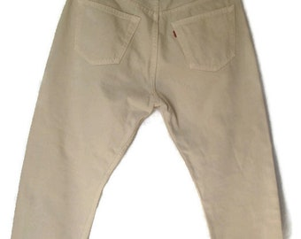 Vintage Levi's Levi Strauss 501 Mens Light Brown Button Fly Jeans Sz W34 L32 Made in UK Used Condition